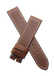 21 mm Vintage Brown genuine leather pin buckle strap with white stitching to fit the TAG Heuer Autavia 02 model CBE2110