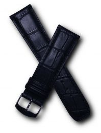 Black leather crocodile-style strap to fit Baume & Mercier Classima models requiring a 22 mm strap