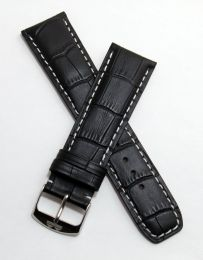 Black genuine leather crocodile-style strap with white stitching to fit Baume & Mercier Classima models requiring a 22 mm strap