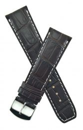 Dark brown leather crocodile-style strap with white stitching to fit Baume & Mercier Classima models requiring a 22 mm strap