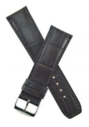 Dark brown leather crocodile-style strap to fit Baume & Mercier Classima models requiring a 22 mm strap