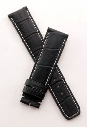 "Black leather crocodile-style strap with white stitching to fit Baume & Mercier Capeland models requiring a 20 mm strap (NOT for Capeland ""S"" models)"