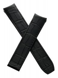 """Black leather crocodile-style deployment strap to fit Baume & Mercier Capeland """"S"""" models requiring a 20 mm strap"""