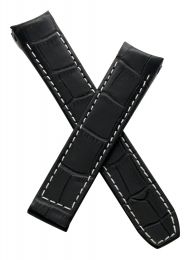 "Black/white leather crocodile-style deployment strap to fit Baume & Mercier Capeland ""S"" models requiring a 20 mm strap"