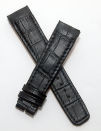 23/20 mm black crocodile style genuine leather watch strap to fit Baume & Mercier Hampton Spirit 65394 models