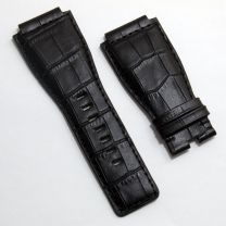 24 mm black genuine calf leather crocodile-style strap to fit Bell & Ross BR01 & BR03 watches