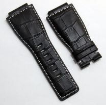 24 mm black genuine calf leather crocodile-style strap with white stitching to fit Bell & Ross BR01 & BR03 watches