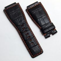 24 mm black genuine calf leather crocodile-style strap with orange stitching and lining to fit Bell & Ross BR01 & BR03 watches