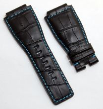 24 mm black genuine calf leather crocodile-style strap with turquoise stitching and lining to fit Bell & Ross BR01 & BR03 watches