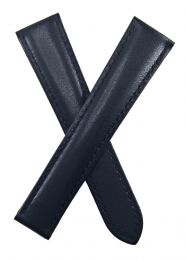 17/16 mm Black leather strap with black stitching to fit Cartier watches with deployment clasps
