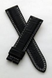 21 mm black crocodile style leather strap to fit JLC Master Compressor 41.5 mm models