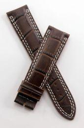 21 mm dark brown crocodile style leather strap to fit JLC Master Compressor 41.5 mm models