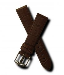 Brown crocodile-style 20 mm leather strap with chrome pin buckle for Mont Blanc watches