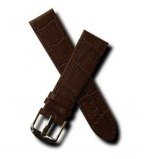 Brown crocodile-style 22 mm leather strap with chrome pin buckle for Mont Blanc watches