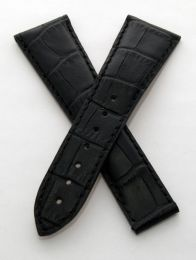 24/18 mm black  genuine leather crocodile-style deployment strap to fit Omega Railmaster XXL models