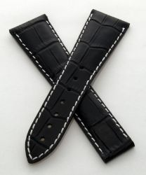 24/18 mm black  genuine leather crocodile-style deployment strap with white stitching to fit Omega Railmaster XXL models