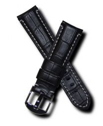 Black crocodile-style 22 mm leather strap with white stitching & chrome pin buckle for Panerai watches