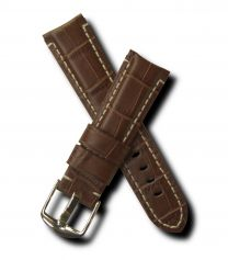 Brown crocodile-style 22 mm leather strap with white stitching & chrome pin buckle for Panerai watches