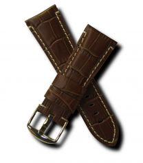 Brown crocodile-style 26 mm leather strap with white stitching & chrome pin buckle for Panerai watches