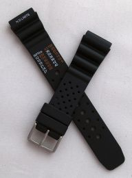 20 mm black polyurethane (PU) NDL pin buckle watch strap to fit diver's watches with 20 mm lugs