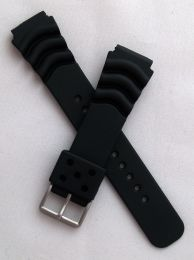 20 mm black polyurethane (PU) pin buckle watch strap to fit diver's watches with 20 mm lugs
