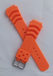 20 mm orange polyurethane (PU) pin buckle watch strap to fit diver's watches with 20 mm lugs