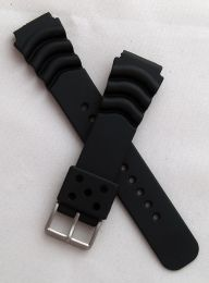 22 mm black polyurethane (PU) pin buckle watch strap to fit diver's watches with 22 mm lugs
