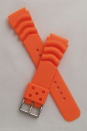 22 mm orange polyurethane (PU) pin buckle watch strap to fit diver's watches with 22 mm lugs