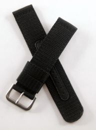 21 mm black military style webbing strap with brushed stainless steel pin buckle.