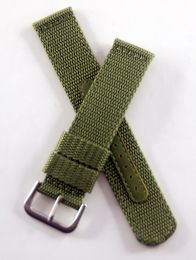 21 mm green military style webbing strap with brushed stainless steel pin buckle.