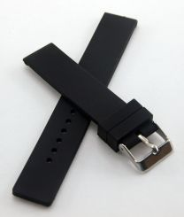 20 mm Black silicone rubber watch strap with polished stainless steel buckle