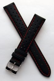 18 mm Heuer Carrera Style Black Sports perforated pin buckle leather strap with red stitching