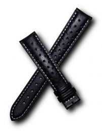 18 mm Black/White Sports perforated pin buckle leather strap to fit TAG Heuer Carrera models with 18/16 mm straps