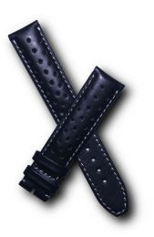 19 mm Black Sports perforated pin buckle leather strap with white stitching to fit TAG Heuer Carrera models with 19/18 mm straps