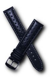 19 mm Heuer Carrera Style Black Sports perforated pin buckle leather strap with white stitching