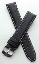 19 mm Heuer Carrera Style Classic smooth leather pin buckle strap with white stitching