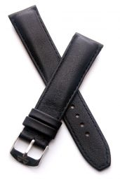 20 mm Black genuine leather pin buckle strap with black stitching to fit TAG Heuer F1 models with 20 mm lug width