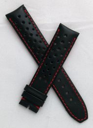 20 mm Black Sports perforated pin buckle leather strap with red stitching & lining to fit TAG Heuer Autavia models