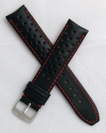 20 mm Black Sports perforated pin buckle leather strap with red stitching & lining to fit TAG Heuer F1 models with 20 mm lug width