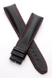 20/18 mm black classic leather pin buckle strap with red stitching & lining to fit TAG Heuer 2000 Series gents models listed