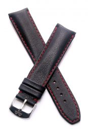 20 mm Heuer Carrera Style Black classic genuine leather pin buckle strap with red stitching & lining
