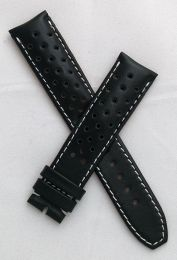 20 mm Black Sports perforated pin buckle leather strap with white stitching to fit TAG Heuer Autavia models