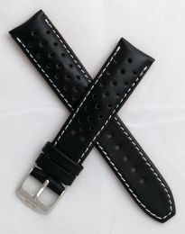 20 mm Black Sports perforated pin buckle leather strap with white stitching to fit TAG Heuer F1 models with 20 mm lug width