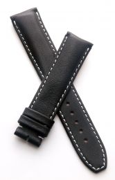 Black Classic smooth genuine leather 20/18 mm pin buckle strap with white stitching to fit TAG Heuer Grand Carrera models with 20 mm lug width