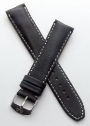 20 mm Heuer Carrera Style Black classic genuine leather pin buckle strap with white stitching