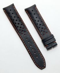 Black Perforated Sports-style leather 20/18 mm pin buckle strap with orange stitching & lining to fit TAG Heuer Grand Carrera models with 20 mm lug width