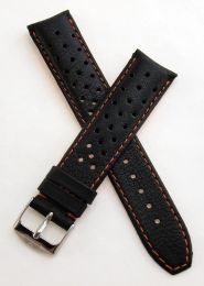 20 mm Heuer Carrera Style Black Sports perforated pin buckle leather strap with orange stitching & lining