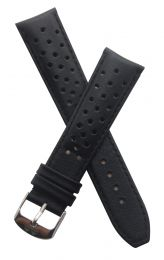 21 mm Heuer Carrera Style Black Sports perforated pin buckle leather strap with black stitching