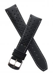 21 mm Heuer Carrera Style Black Sports perforated pin buckle leather strap with white stitching