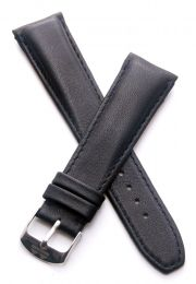 22 mm Heuer Carrera Style Classic black smooth leather pin buckle strap